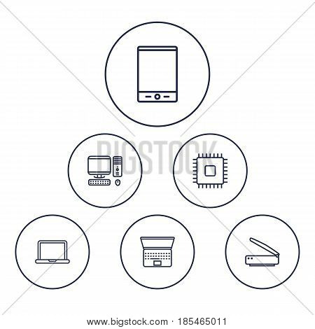 Set Of 6 Laptop Outline Icons Set.Collection Of Laptop, PC, Scanner And Other Elements.