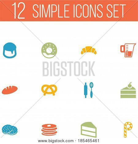 Set Of 12 Cook Icons Set.Collection Of Crepe, Doughnut, Loaf And Other Elements.