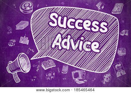 Success Advice on Speech Bubble. Hand Drawn Illustration of Shrieking Horn Speaker. Advertising Concept.