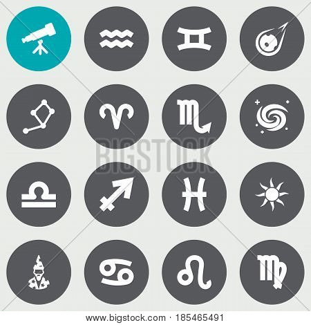 Set Of 16 Astrology Icons Set.Collection Of Binoculars, Virgin, Space And Other Elements.