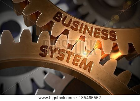 Business System on Mechanism of Golden Metallic Gears with Lens Flare. Business System - Concept. 3D Rendering.