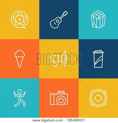 Set Of 9 Amusement Outline Icons Set.Collection Of Film Role, Photo Camera, Dancing Man And Other Elements.