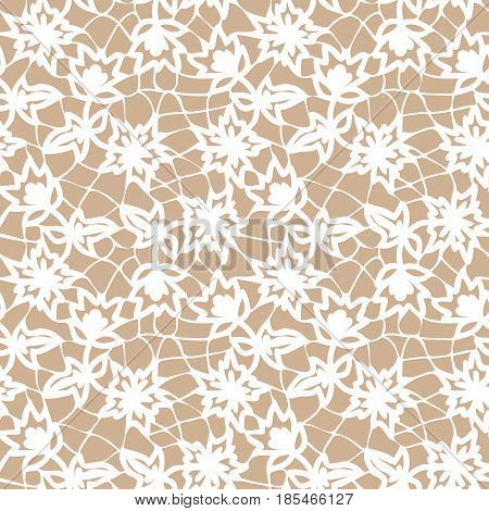 Seamless white and beige lace background with floral pattern