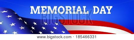 Memorial day web banner with flag of USA