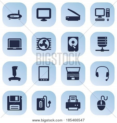 Set Of 16 Notebook Icons Set.Collection Of Notebook, Headset, Control Device And Other Elements.