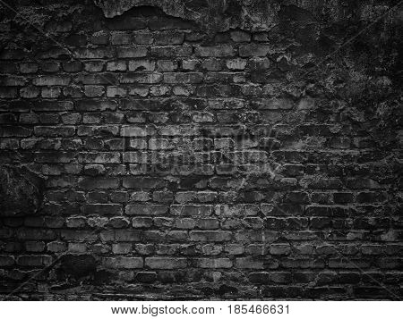 Texture Of A Black Brick Wall Background Gloomy Background For Design