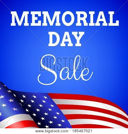 Memorial day sale background with flag of USA