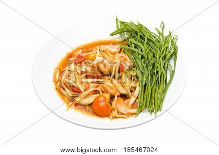 Papaya salad isolated (Som Tum of thailand) is placed in a white dish. on white backgroundwith clipping path