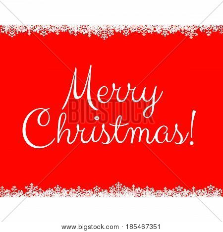 Merry Christmas red background with white snowflakes borders