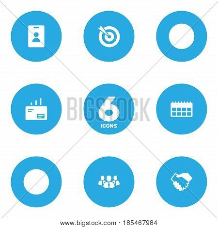 Set Of 6 Enterprise Icons Set.Collection Of Goal, Data, Partnership And Other Elements.