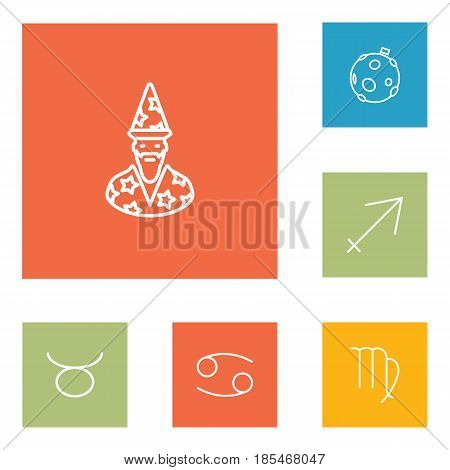 Set Of 6 Astronomy Outline Icons Set.Collection Of Virgo, Astrologer, Moon And Other Elements.