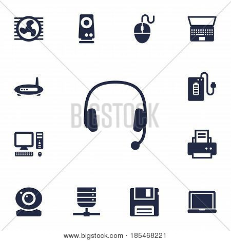 Set Of 13 Notebook Icons Set.Collection Of Notebook, Router, Supply And Other Elements.