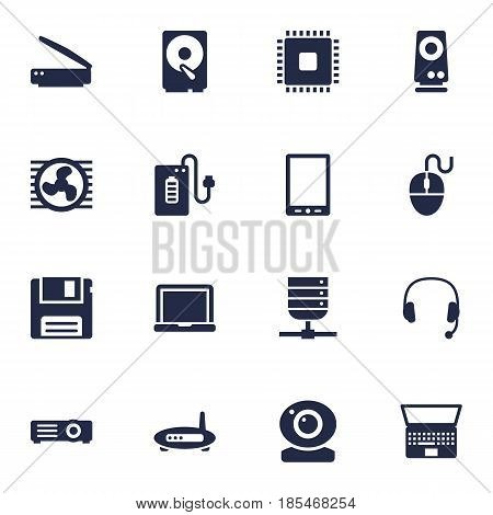 Set Of 16 Notebook Icons Set.Collection Of Supply, Fan, Headset And Other Elements.