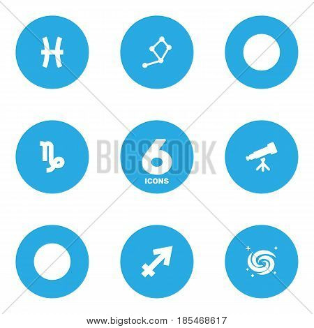 Set Of 6 Horoscope Icons Set.Collection Of Space, Fishes, Horoscope And Other Elements.