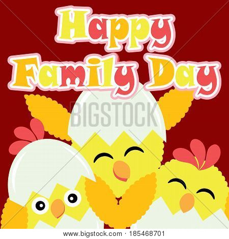 Cute chicks smile on red background vector cartoon, Family Day postcard, wallpaper, and greeting card, T-shirt design for kids