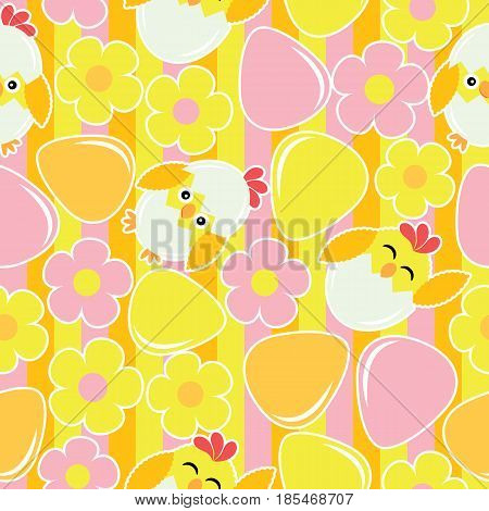 Cute chick, flower, and eggs on striped background vector cartoon, Easter seamless pattern, wallpaper, and greeting card, T-shirt design for kids