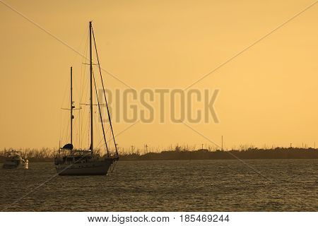 Sailboat anchored off Dredger Key - Key West Florida