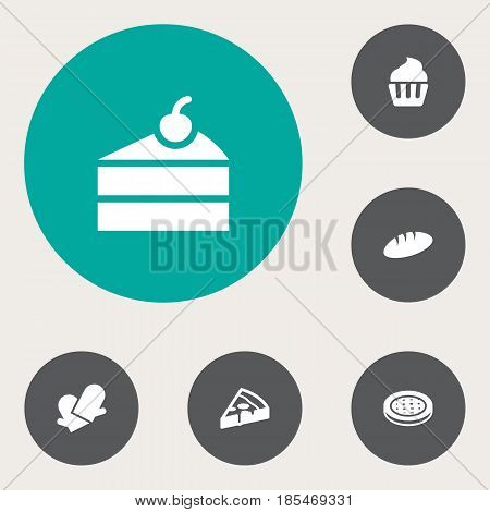Set Of 6 Oven Icons Set.Collection Of Cake, Loaf, Sweetmeat And Other Elements.
