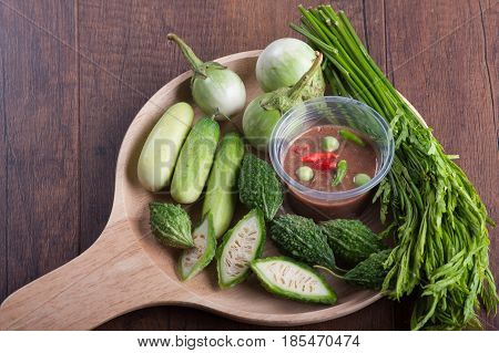 Shrimp-paste Sauce (nam Prik) And Vegetable