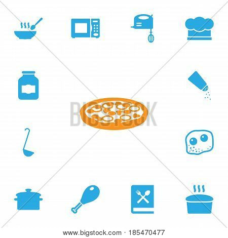 Set Of 13 Cooking Icons Set.Collection Of Electronic Oven, Loaf, Poultry Foot And Other Elements.