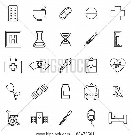 Pharmacy line icons on white background, stock vector