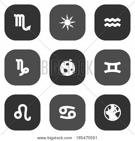 Set Of 9 Galaxy Icons Set.Collection Of Solar, Twins, Lion And Other Elements.