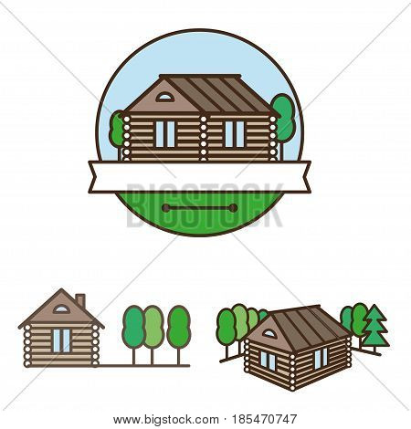 wooden house of logs and trees logo