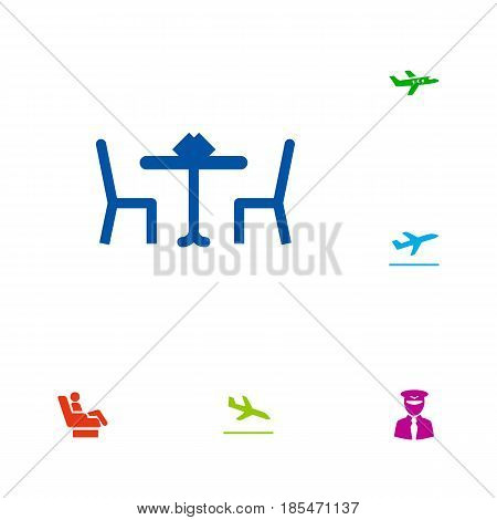 Set Of 6 Land Icons Set.Collection Of Aircraft, Letdown, Vip And Other Elements.