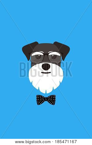 Gentlemen Dog Wear Glasses And Bowknot Like A Man, Fashion Portrait Of Dog, Schnauzer