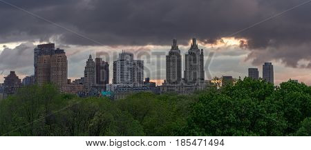 View of upper west side Manhattan Skyline beofre raindrop