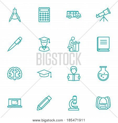 Set Of 16 Science Outline Icons Set.Collection Of Graduation Cap, Pupil, Microscope And Other Elements.