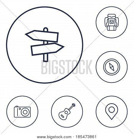 Set Of 6 Outdoor Outline Icons Set.Collection Of Guidepost, Baggage, Compass And Other Elements.