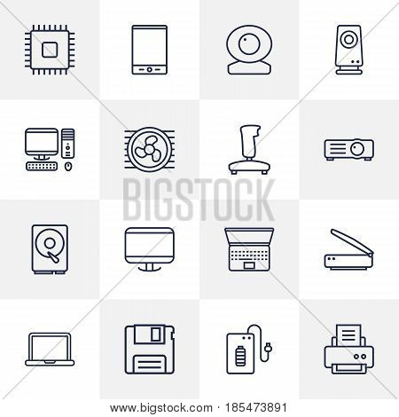 Set Of 16 Laptop Outline Icons Set.Collection Of Tablet, Floppy, Hdd And Other Elements.