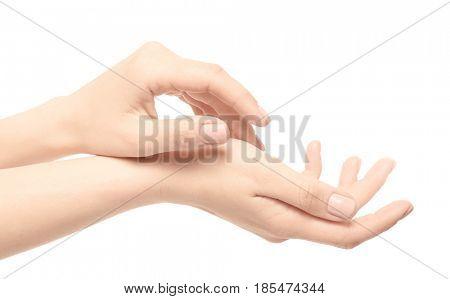 Epilated female hands on white background