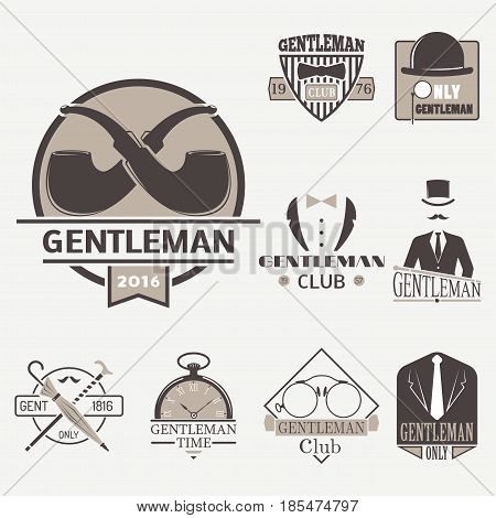 Vintage style design hipster gentleman logo vector illustration badge antique graphic design mustache element. Premium quality man shop stamp classic haircut fashion moustache barber sign.