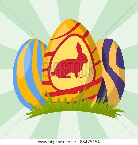 Easter eggs painted with spring pattern decoration retro multi colored vintage ornament organic food holiday game symbol vector illustration. Cute rabbit paint decoration on green grass.