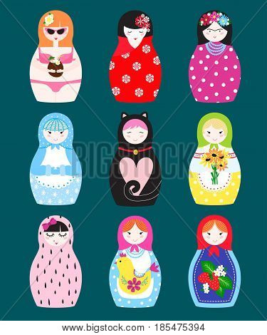 Traditional russian matryoshka nesting doll toy set with handmade ornament figure pattern with child face and babushka woman souvenir painted doll vector illustration. Bright family gift