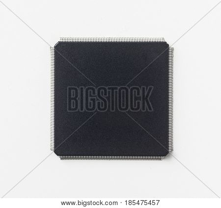 Business concept - semiconductor IC chip isolated on white background.