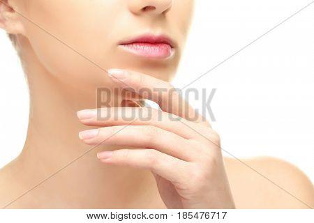 Beautiful young woman on white background, closeup