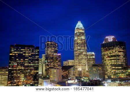 Skyline Of Downtown Charlotte In North Carolina