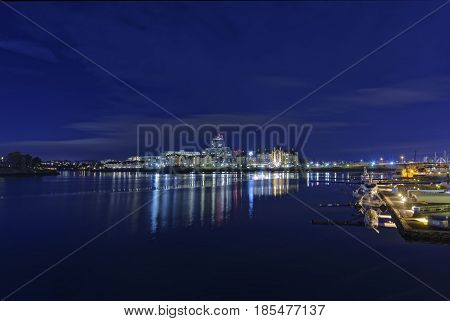 Lights of the inner harbor in Victoria British Columbia