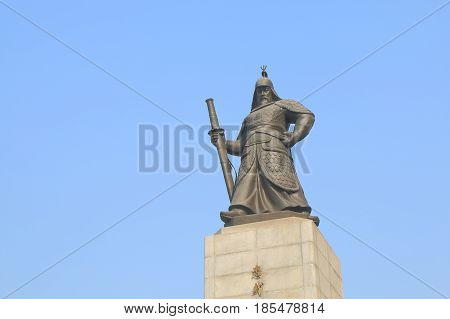 SEOUL SOUTH KOREA - OCTOBER 20, 2016: Admiral Yi Su Shin Monument in Seoul South Korea. Yi Sun Shin was a Korean naval commander famed for his victories against the Japanese navy during the Imjin war.
