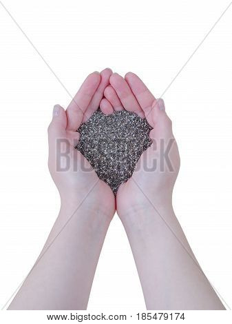 Chia Seeds In Female Hands Isolated On White Background