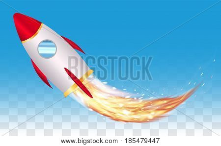 space toy rocket vector with real rocket  fire