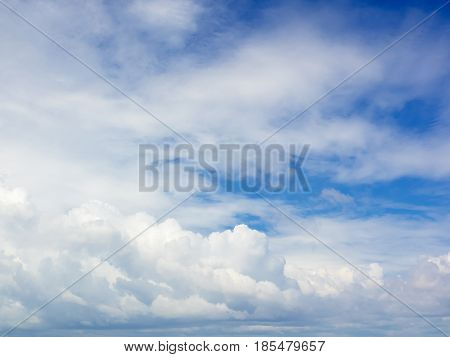Blue sky with large white cloud background