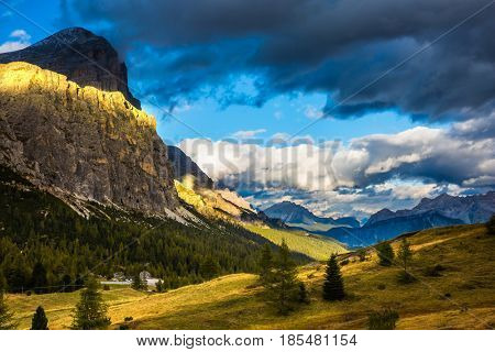 Travel in the Dolomites. Approaching snowstorm. The concept of active and adventure tourism