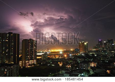 Bangkok, Thailand - Sep 18, 2016 Thunder storm in the night, striking in the urban city at bankok in thailand.
