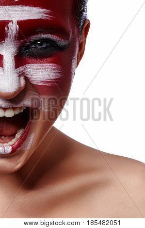 Screaming angry Woman with Makeup. Beauty fashion creative Face Art