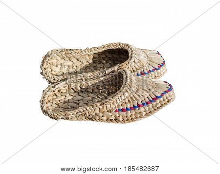 Braided sandals at the fair of artisans isolated on white background.