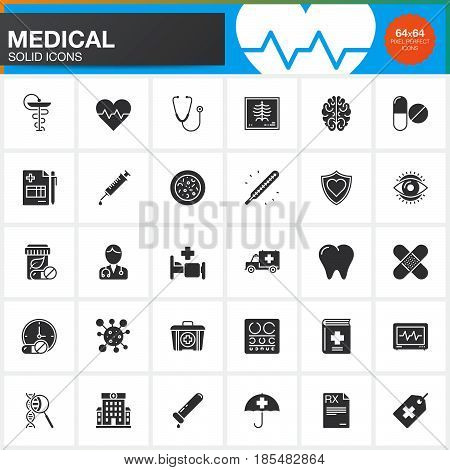 Medicine and Health vector icons set Medical modern solid symbol collection pictogram pack isolated on white logo illustration
